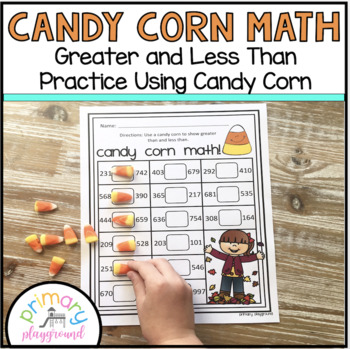 Candy Corn Math Greater or Less Than Freebie!