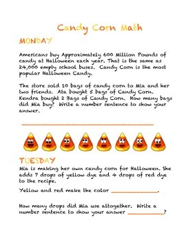 Super Fun Halloween Candy Corn Daily Math Word Problems