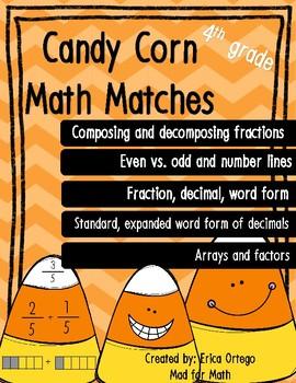 Candy Corn Math Matches 4th Grade Math Center, Game, Activity