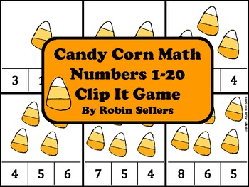 Candy Corn Math {Numbers 1-20 Clip It Game and Math Center}