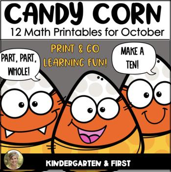 (Candy Corn} Halloween Print & Go! First Grade & Kindergarten Math
