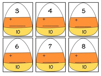 Candy Corn Missing Numbers in Addition Equations