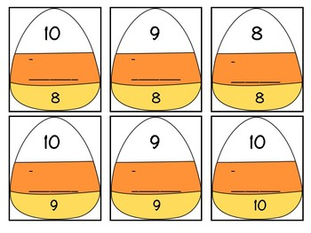 Candy Corn Missing Numbers in Subtraction Equations