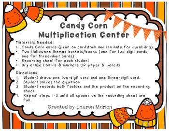 Candy Corn Multi-digit Multiplication Center