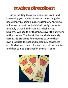 Multiplication & Division Fact Family Flashcards ~ Candy Corn Themed