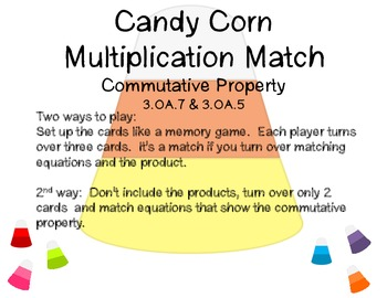 Candy Corn Multiplication Match: Commutative Property