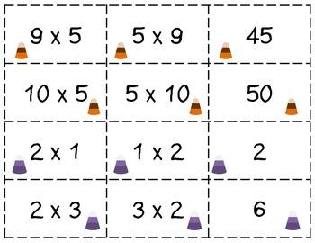 Candy Corn Multiplication Match: Commutative Property
