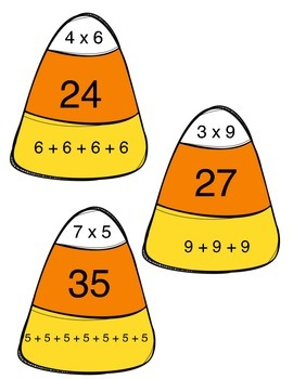 Candy Corn Multiplication Match-Factors, Products, Repeated Add