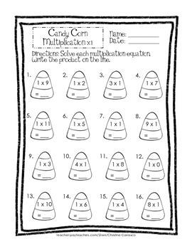 Candy Corn Multiplication x1 through x5