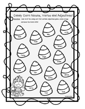 Candy Corn Nouns, Verbs and Adjectives Halloween Color Sorting Worksheet