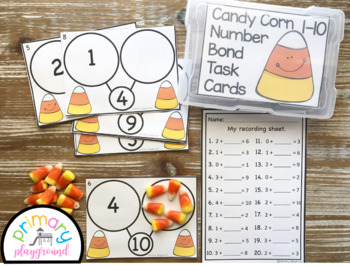 Candy Corn Number Bond Task Cards 1-10 Center