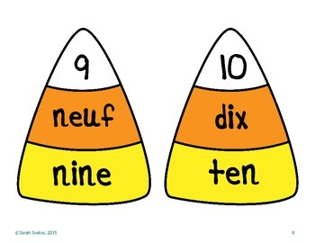 Candy Corn Number Puzzles, Dual Language: French and Spanish