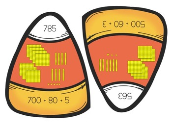 Candy Corn Place Value Match from hundreds to hundred thousands
