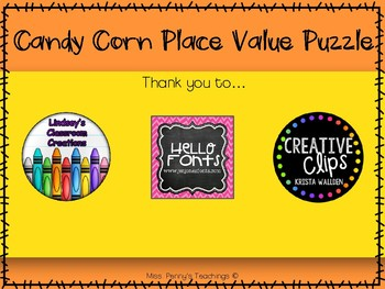 Candy Corn Place Value Puzzle