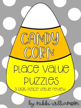 Candy Corn Place Value Puzzles - 3-digit Numbers