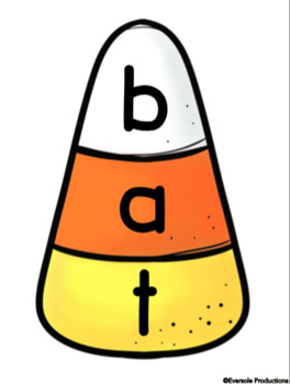 Candy Corn Puzzles & Activities - CVC Words - Halloween & Fall Reading Centers