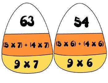 Math Candy Corn Puzzles ~ Distributive / Commutative Property 3rd Grade CCSS