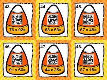 Halloween/Fall themed QR Code Task Cards for Multi-digit Multiplication