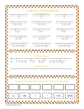 Candy Corn Sight Words and Sentence Building!