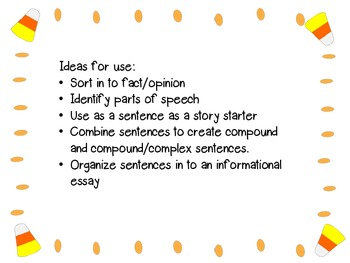 Candy Corn Sentences for Word Work