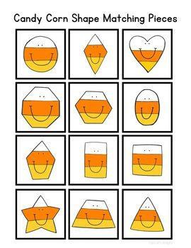 Candy Corn Shape Match File Folder Game for Special Education