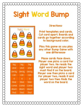 Candy Corn Sight Word Bump Game
