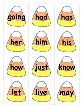 Candy Corn Sight Word Cards 1st Grade