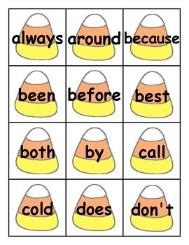 Candy Corn Sight Word Cards 2nd Grade