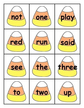 Candy Corn Sight Word Cards Pre-Primer