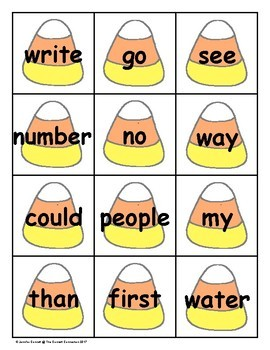Candy Corn Sight Word Cards Fry 1st Hundred