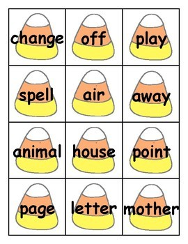 Candy Corn Sight Word Cards Fry 2nd Hundred