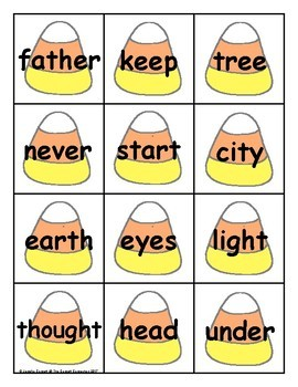 Candy Corn Sight Word Cards Fry 3rd Hundred