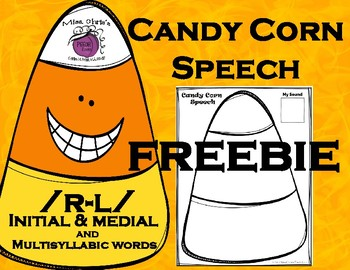 Candy Corn Speech  FREEBIE  /R-L/ Medial and Final