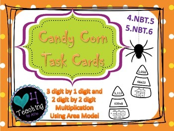 Candy Corn Task Cards- Area Model of Multiplication
