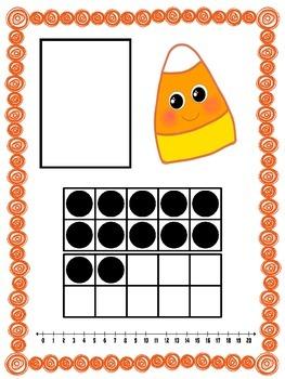 Candy Corn Ten Frame Number Match