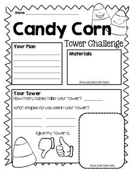 Candy Corn Tower Challenge, STEAM, STEM, Halloween