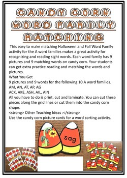 Candy Corn Word Families Matching
