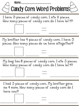 Candy Corn Word Problems