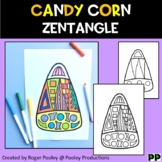 Candy Corn Zentangle,  No Prep Coloring Page