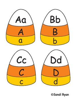 Candy Corn/Halloween/Fall Alphabet Match (Self Correcting) Center