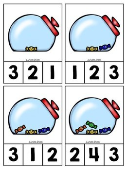 Candy Counting Clip Cards 1-10
