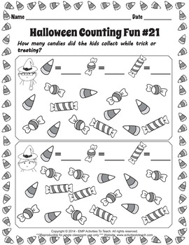 Trick or Treat Counting Halloween Fun Math Worksheets - Grade K and 1st
