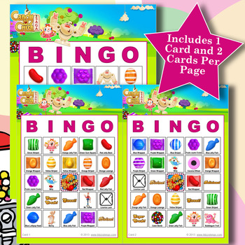 Candy Crush 5x5 Bingo 30 Cards