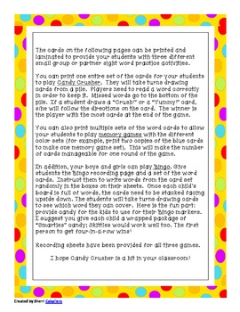 Candy Crusher Second Grade Dolch Word Practice Games