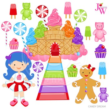 Candy Dream Cute Digital Clipart, Candy Graphics