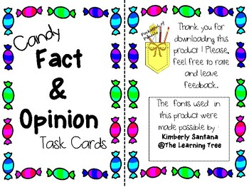 Candy Fact and Opinion Task Cards