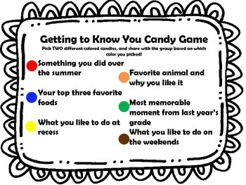 Candy Getting to Know you Game