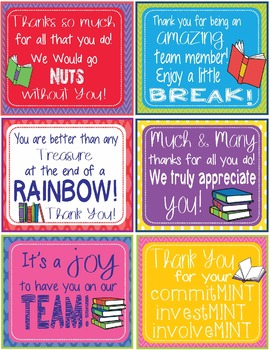 Candy Gram Thank You Notes - 12 Different Book Themed