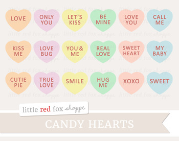 Candy Heart Clipart; Valentine's Day