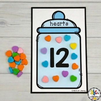 Candy Heart Counting Mats #1-20